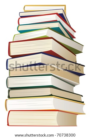 big stack of books with multicolored covers, vector - stock vector