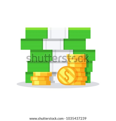 Big stack of golden coins and dollar bill.Flat vector illustration isolated on white background.