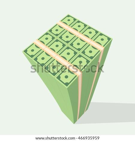 big stacked of money  dollars