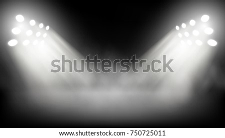Big Stage Illuminated By Spotlights. EPS10 Vector