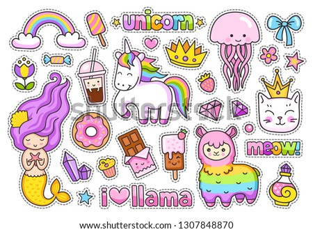 Big stickers pack. Kawaii little mermaid, llama, cat, rainbow magic unicorn, jellyfish, ice cream, crown, chocolate bar, donut, cake, diamond. Set of cute cartoon characters. #1307848870