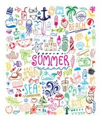 Big summer doodle set. Card, invitation, banner design. Isolated on white background. Colorful design.