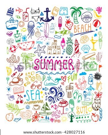 big summer doodle set card