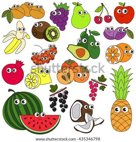 big summer fruit set in vector