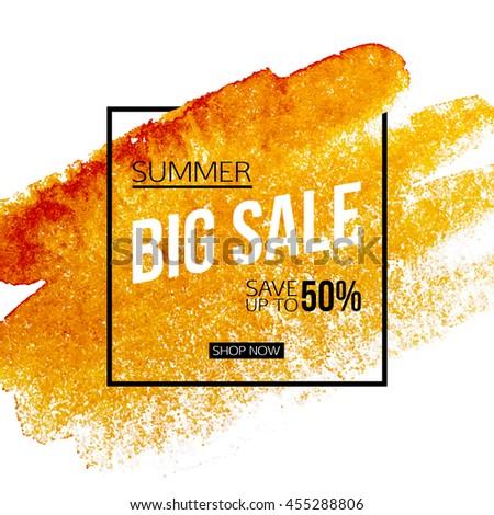 Big summer sale banner template. Vector eps 10 format. #455288806
