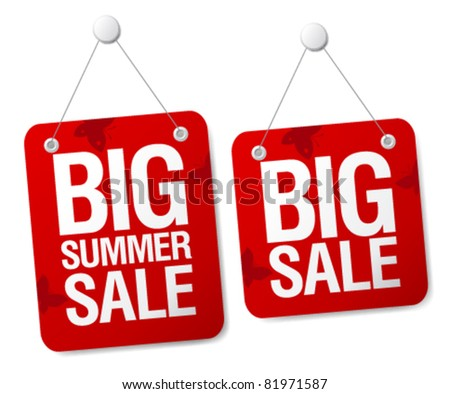 Big summer sale signs set. - stock vector