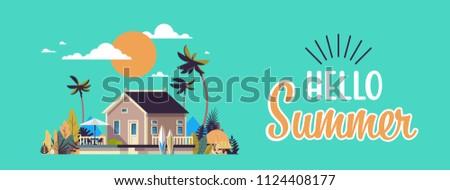 big summer villa house umbrella