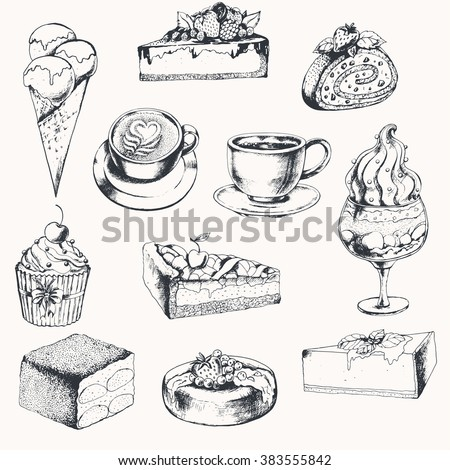 Big sweet collection with coffee and desserts. Ink drawn vector illustration.