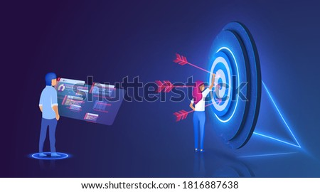 Big target with people, teamwork, people their goal, target achievement. Target with arrow in bullseye. Team of workers dealing with setting goals. Concept for web page, banner, presentation.