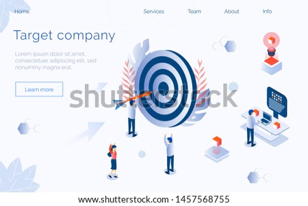 Big target with tiny managers and employees engaged in company development. Internal marketing, promotion, business planning, achieving goal concept. Landing page, website, app, banner temlate.