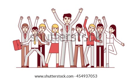 Big team celebrating huge success and business achievements. Standing together and waving hands. Modern flat style thin line vector illustration isolated on white background.
