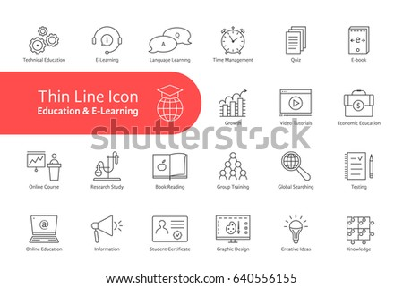 big thin line set of e-learning and education with text. flat linear trend modern logotype graphic art design isolated on white background. concept of digital electronic communication in web school