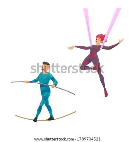 Big top tent circus gymnast and balancer vector characters. Cartoon air acrobatics woman shows a performance. Man ropewalker balancing on rope with pole. Acrobat performing on circus stage Stockfoto ©