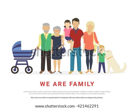 Big traditional family concept illustration of family portrait. Flat design of father and mother with their children and grandparents and dog isolated on white background