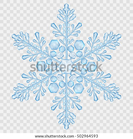 Big translucent crystal snowflake in light blue colors on transparent background. Transparency only in vector file