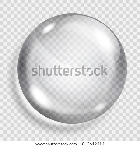 Big translucent gray sphere with shadow on transparent background. Transparency only in vector format
