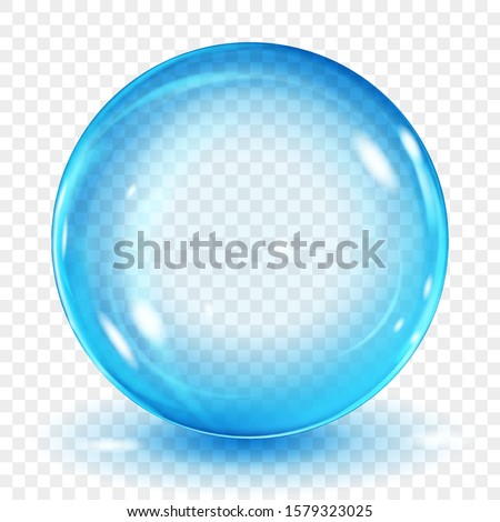Big translucent light blue sphere with glares and shadow on transparent background. Transparency only in vector format