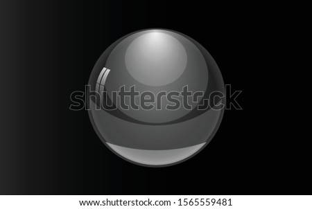 Big transparent glass sphere with glares and highlights. Transparency only in vector format.