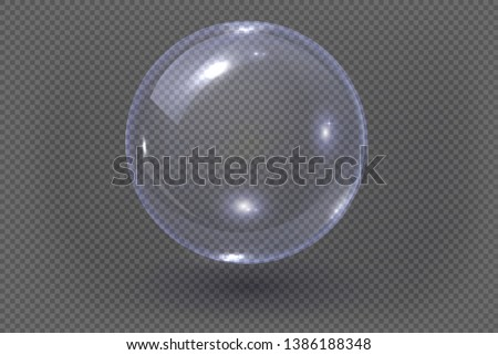 Big transparent glass sphere with glares and shadow. Transparency only in vector file