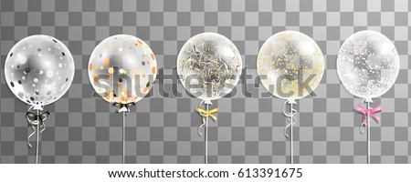 Big transparent realistic  balloons with confetti isolated. Party decorations for birthday, anniversary, celebration, wedding, event design. Vector