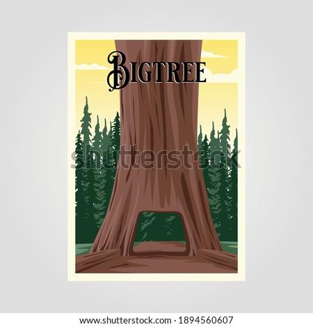 big tree vintage vector poster