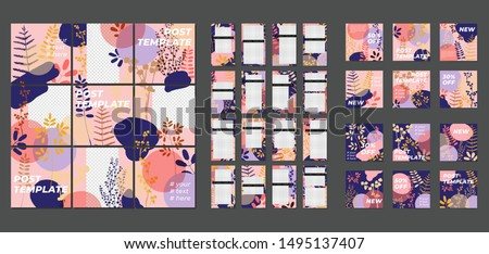 Big trendy set. For social media post templates. For personal and business accounts. Pink background with geometric elements, drawn plants and a position for photography. Vector illustration