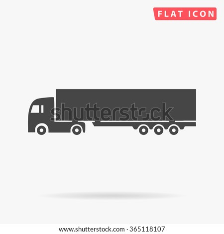 Big Truck Icon Vector. Simple flat symbol. Perfect Black pictogram illustration on white background.