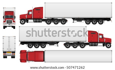 big truck with trailer vector