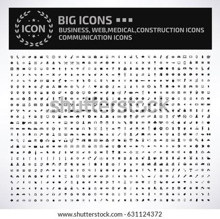 Big universal icon set,clean vector #631124372