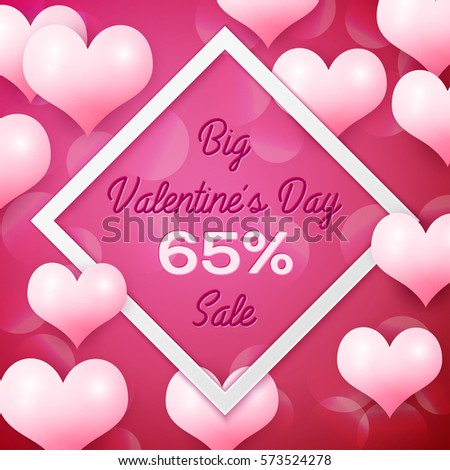 Big Valentines day Sale 65 percent discounts with white square frame. Background with pink balloons heart pattern. Wallpaper, flyers, invitation, posters, brochure, banners. Vector illustration. #573524278
