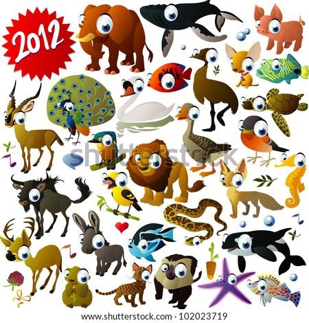 big vector animal set