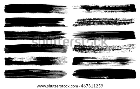 Big vector art brush strokes collection isolated