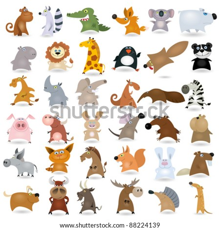 big vector cartoon animal set  2