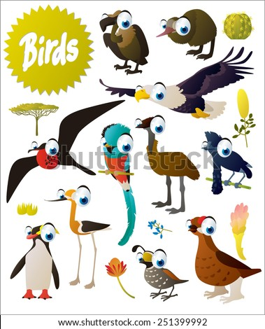 big vector cartoon comic birds