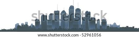 Big vector city silhouette