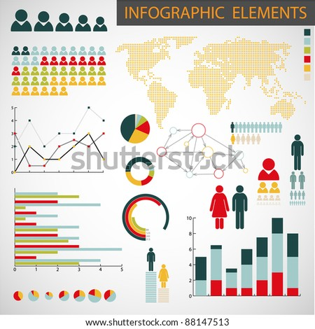 Big Vector collection of Infographic elements for your documents