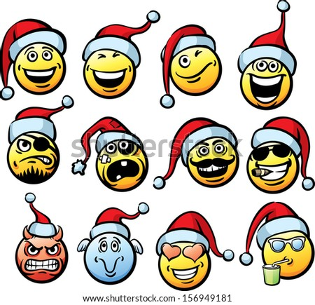 Big vector collection of smiliey faces in Santa's hat. Easy-edit layered vector EPS10 file scalable to any size without quality loss. High resolution raster JPG file is included.