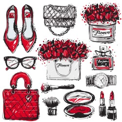 Big vector fashion sketch set. Hand drawn graphic shoes, bag, makeup brush, lipstick, powder, wrist watch, perfume, flower box, eye glasses, flowers. Trend glamour fashion illustration kit vogue style