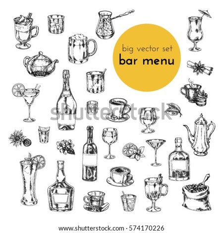 big vector hand drawn set. illustrations of alcoholic cocktails, drinks, tea, coffee. sketch for menu bars and restaurants