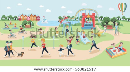 Big vector map of park. Cartoon funny illustration of different type of people relaxing in nature in a beautiful urban lands?ape, city skyline on the background. Children playground, sportsmen