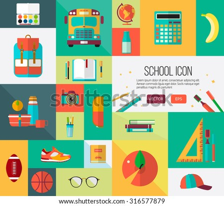 Big vector school icons set. Collection of back to school items in flat style. Colorful illustration for web banners or card elements. - stock vector