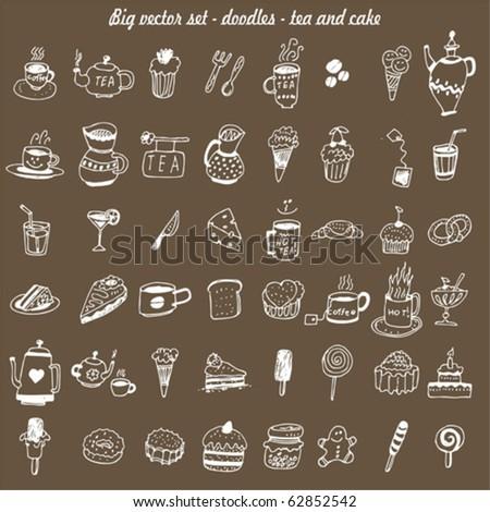 big vector set - doodles - cake & tea