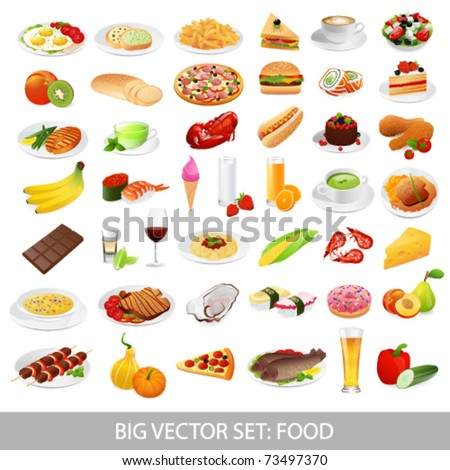 big vector set  food  various