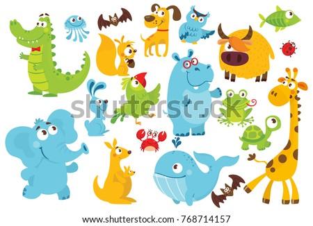 Big vector set of animals. Collection of cute animals in cartoon style.Giraffe, elephant, whale, owl, alligator, jellyfish, bat, dog, parrot, rabbit, kangaroo, frog, fish, crab, yak, ladybug, hippo.