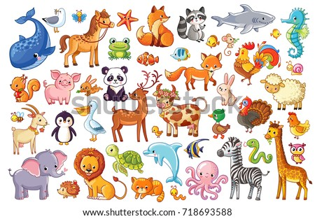 Shutterstock Big vector set of animals. Collection of cute animals in cartoon style. Panda, penguin, lion, giraffe, elephant, turkey, fox, whale, zebra, dolphin, octopus, owl.