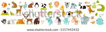 big vector set of animals cow