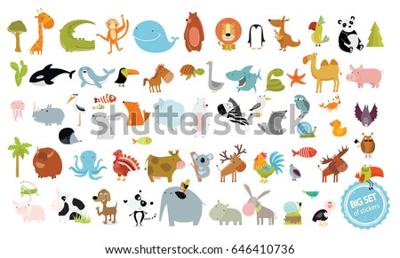 big vector set of animals cow