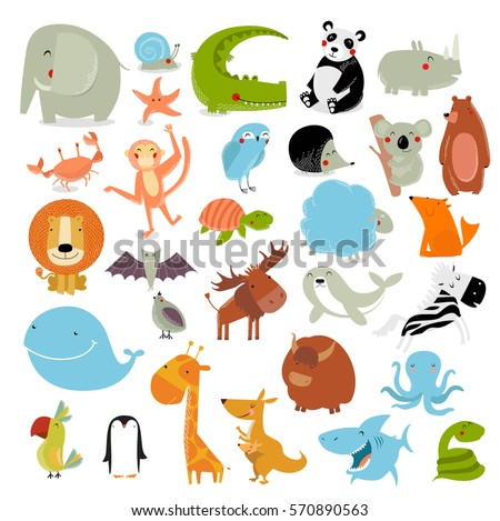 big vector set of animals the