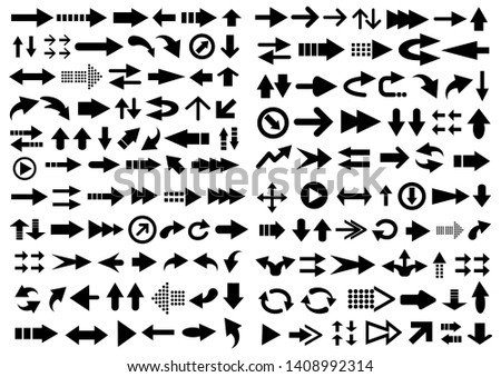 Big vector set of arrow shapes isolated on white. #1408992314
