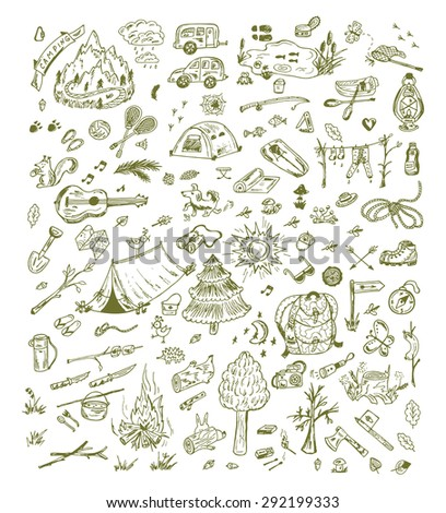 Big Vector Set of Camping Elements. Hand Drawn Doodle background